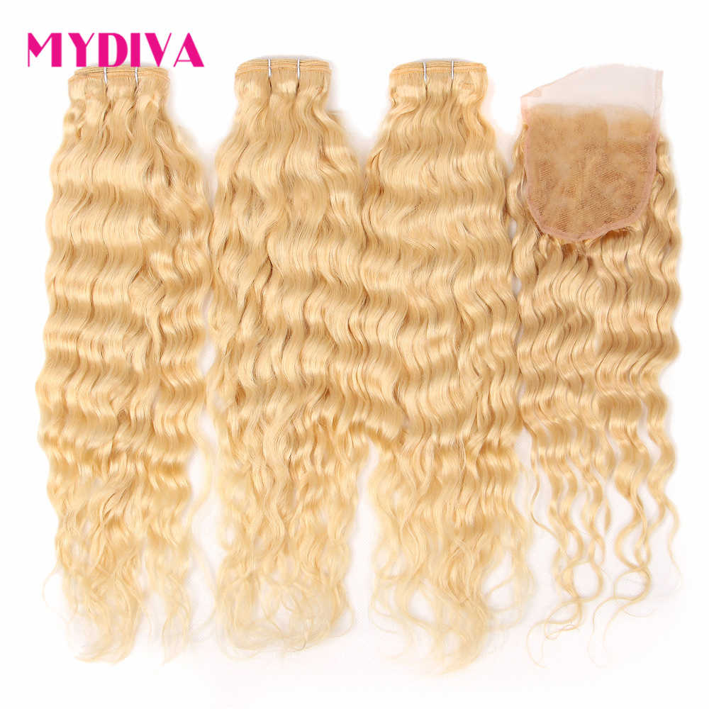 613 Blonde Bundles With Closure Brazilian Water Wave Hair Bundles With Closure 30 Inch Remy Hair Weave Extension Mydiva