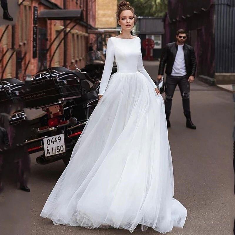 Long Sleeves Soft Tulle Simple A Line Wedding Dresses Satin Wedding Bridal Gowns Vestido De Noiva Sheer Beach Wedding Guest