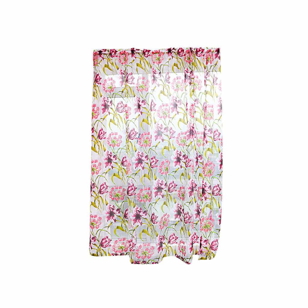 Trees Sheer Curtain Tulle Window Pastoral pink flower Tulle Voile Window Curtain Drape Panel Sheer Scarfs Valances Window Scarfs