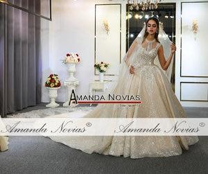 Image 2 - Abito דה sposa שמלת חתונת יוקרה דובאי חתונת שמלת 2020 עם ארוך תחרה רעלה אמנדה novias