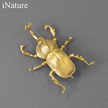 INATURE Saint Seiya 925 srebro Allomyrina Dichotoma Beetle broszka z owadem dla kobiet oświadczenie biżuteria