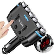 12В-24В автомобиля гнездо прикуривателя сплиттер из светодиодов USB зарядное устройство адаптер 3.1 A 100Вт напряжения обнаружения для телефона mp3 видеорегистратор коврик