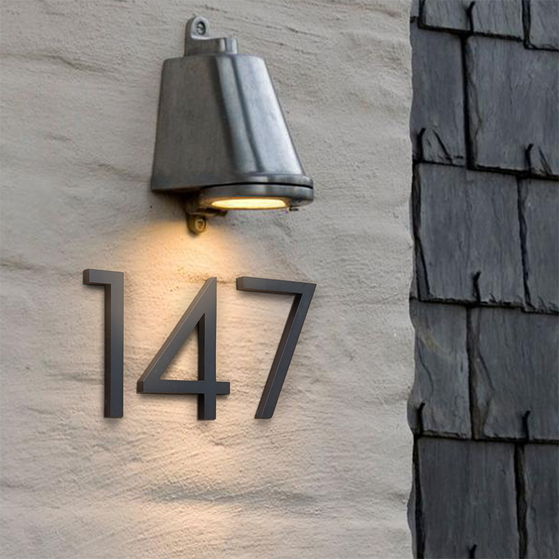 Grand numéro de maison noir signe flottant 15cm moderne porte numéros bâtiment signalisation extérieur Huisnummer Numeros Casa adresse plaque