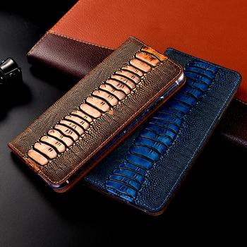Ostrich Genuine Leather Case For Xiaomi Mi Note Max Mix 2 2S 3 10 Pro Lite Poco F1 F2 X3 NFC M2 Black Shark 2 3 Flip Phone Cover