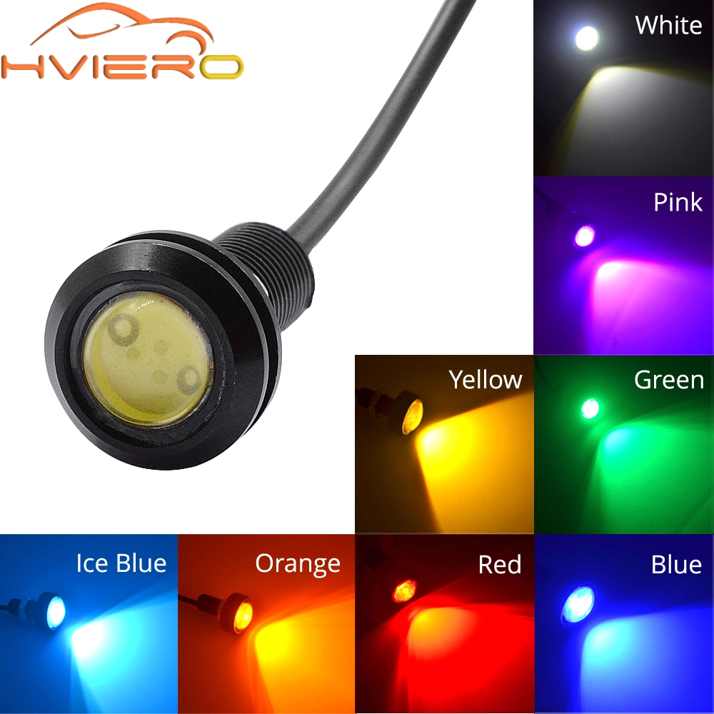 18MM Car LED Red Eagle Eye DRL Daytime Running Lights Backup Reversing Parking Signal Lamps Waterproof Car Motorcycle Fog Light