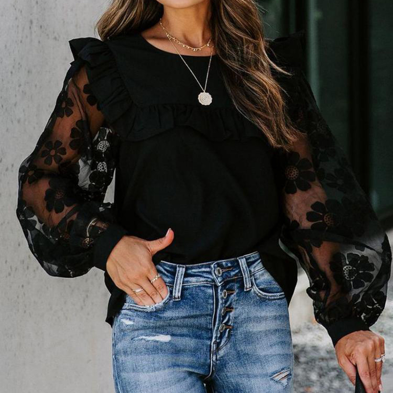 40# Women's Ruffle Blouses tops Net yarn Round Neck Lace Patchwork Long Sleeve Blouses Top Mesh Gauze sexy Retro Shirts рубашка