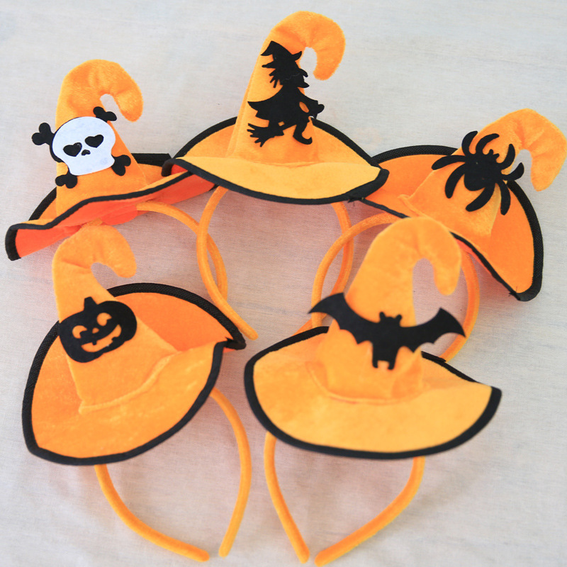 Cartoon Cute Yellow Cloth Halloween Witch Party Hats Decoration Toys Fashion Children Drama Performance Prop Festive Supplies