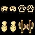 Милые серьги-гвоздики в виде котят, гитары, кактуса, ананаса, мини-серьги золотого цвета из нержавеющей стали, минималистичные украшения для...
