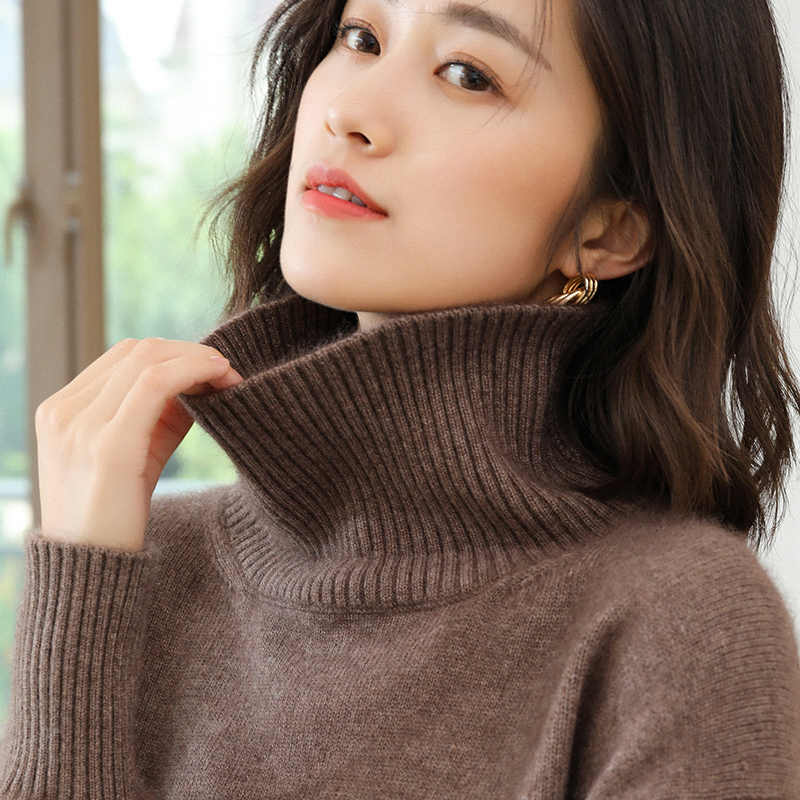 100% Cashmere Knitted Sweater for Women Clothes Soft and New Ladies Jumpers Pullover Turtleneck 4color Thick Warm Sweaters