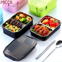 MICCK 304 Stainless Steel 2 Layers Lunch Box For Children 2020 School Food Container With Tableware Bento Box Kitchen Accessorie|Lunch Boxes| |  -
