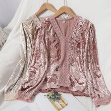 Осеннее милое кружевное платье с оборками рубашка v образным