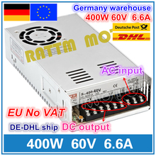 400W 60V Switch DC Power supply S-400-60  6.6A Single Output for CNC Router Foaming Mill Cut Laser Engraver Plasma 350w 36v 9 7a switch power supply cnc router single output power supply 350w 36v foaming mill cut laser engraver plasma