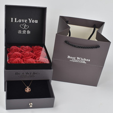 Beautiful nine high gift box soap bubble roses with 100 languages I love you Necklace For Girlfriend Romantic Love Gift цена 2017