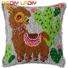 Latch Hook Kit Make Your Own Cushion Camel Cactus Pre-Printed Canvas Crochet Pillow Case Latch Hook Cushion Cover Hobby & Craft(China)