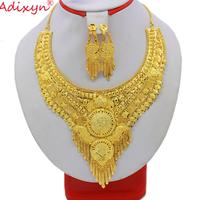 Adixyn African Tassels Necklace Earrings Jewelry Set Gold Color/Copper Arab Dubai Wedding Party MOM Girlfriend Gifts N10086