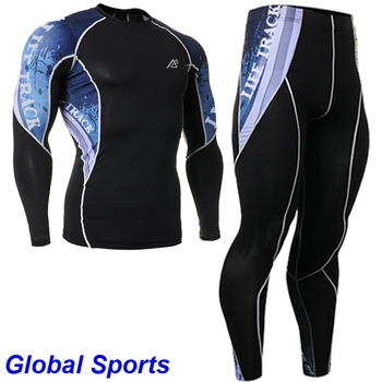 Life on track Men's Running Clothes Set Compression Pants + Sports T Shirt Long Sleeve 4 Way Stretch Gym T shirt