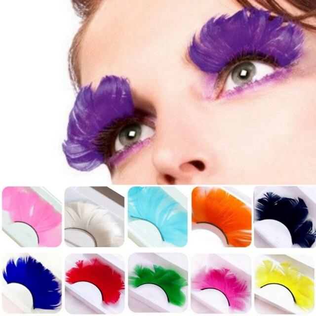 1 Pair Fake Eyelashes Colorful Feather 3D Natural Long Exaggeration Eyelashes Maquiagem Stage False Eye Lashes Party Face Makeup 1