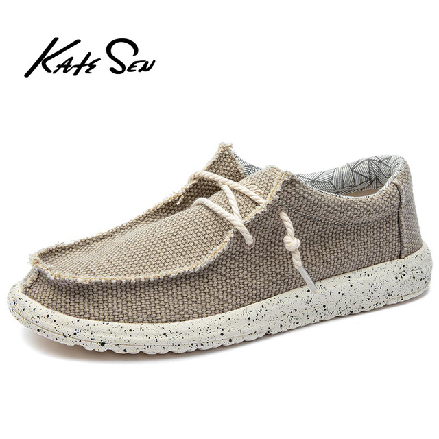 KATESEN 2020 Summer Mens Canvas Shoes Lightweight Breathable Slip on Casual Shoes Fashion Beach Vacation Loafers Big Size 48