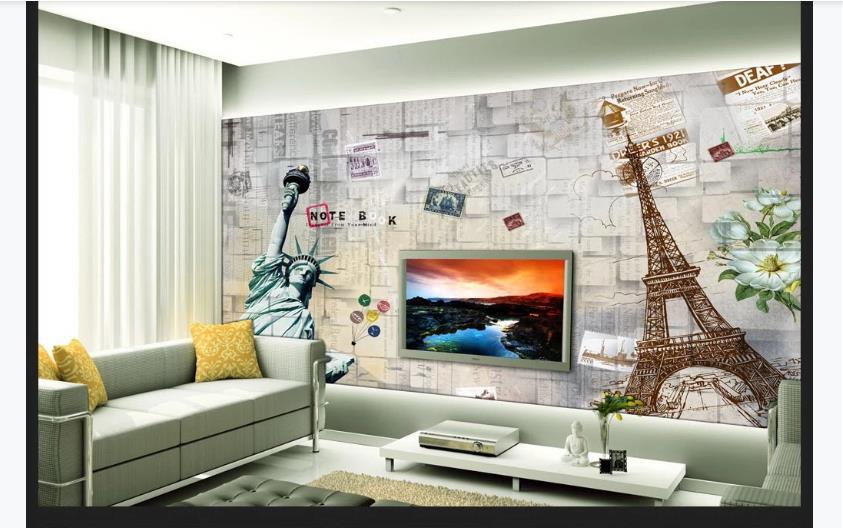 Home Decor 3D Papel De Parede Retro Brick Wall Murals Living Room Bedroom Modern Photo Mural Home Decor