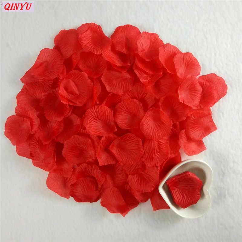 500/1000/3000pcs 5*5 ซม.ประดิษฐ์ดอกไม้ผ้าไหมกลีบกุหลาบใบงานปาร์ตี้จัดงานแต่งงานอุปกรณ์ Favor สีขาวสีชมพูสีแดงสีน้ำเงิน 5Z