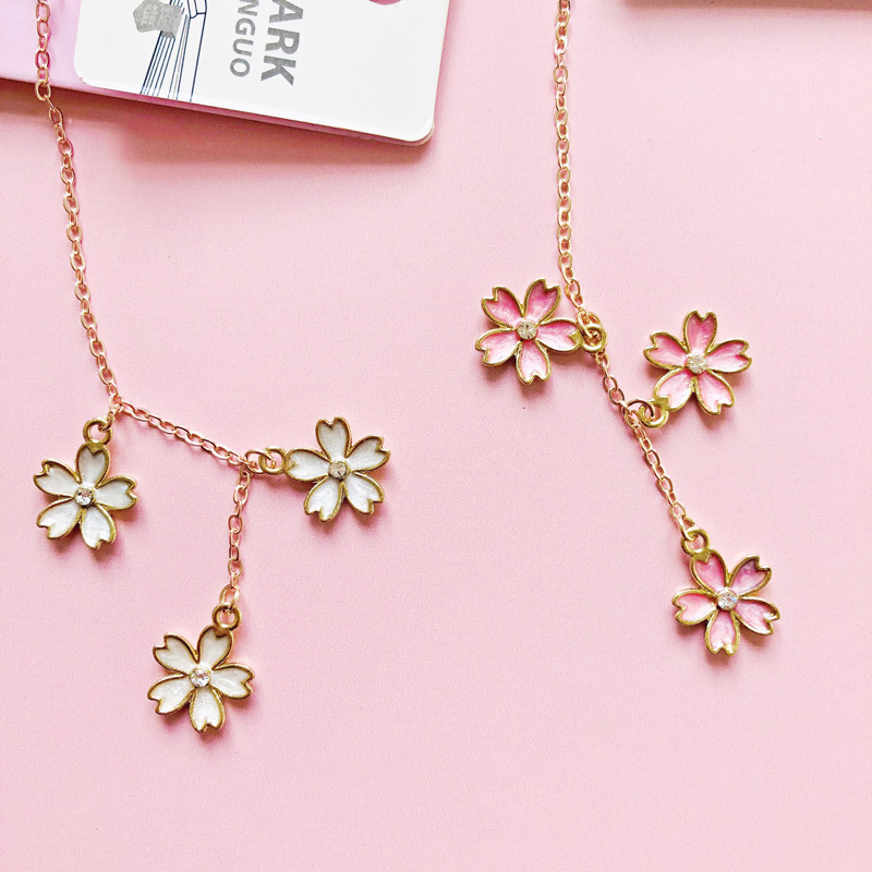 1X Diamond Flowers Metal Chain Pendant Bookmark Marker Of Page Stationery