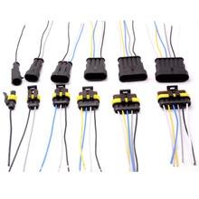 1 2 3 4 5 6 способ 1P 2P 3P 4P 5P 1,5 комплект авто разъем мужской и женский водонепроницаемый Электрический штекер с 14AWG кабель жгут проводов