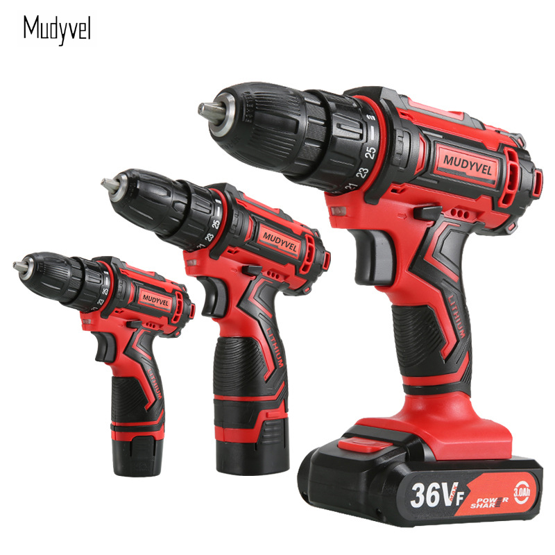 Electric Screwdriver Cordless Drill Mini Power tools Rechargeable Battery Wireless Dremel 3/8-Inch 2-Speed