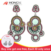 цена на Free Shipping Min Mix Order $10 New Women Classic Vintage Ethnic Women Candy Resin Beads Enameling Hollow Earrings Jewelry