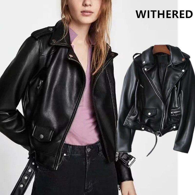 Withered autumengland high street zipper sashes jacket casaco feminino jaqueta feminina Locomotive leather jacket tops plus size