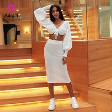Adogirl White Women 2 Pieces Sets Crop Top and Ankle-Length Skirt V-Neck Puff Sleeve Bow Lace Up Stretchy Sexy Lady Party Dress bow embellished lace yoke and cuff top