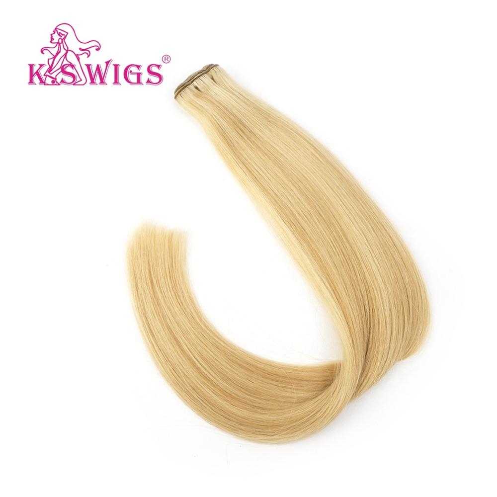 K.S WIGS 100g/pc Straight Real Virgin Cuticle Remy Human Weft Hair Double Drawn Human Hair Weave Bundles Extensions 24'' 60cm