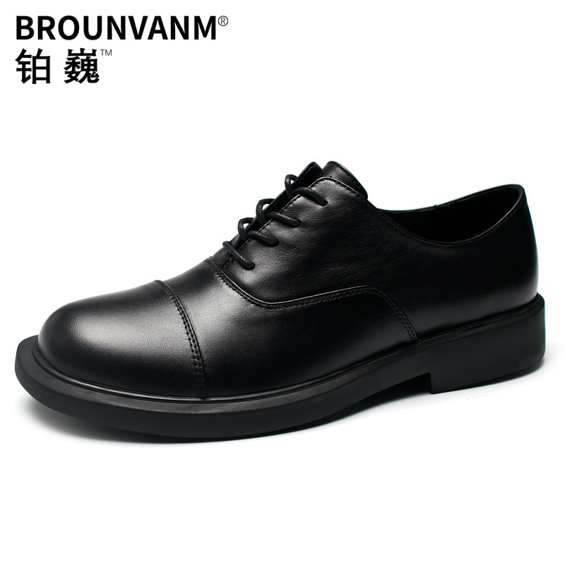 Haute qualité en cuir véritable robe d'affaires britannique marié chaussures de mariage britannique rétro hommes chaussures all-match peau de vache respirant
