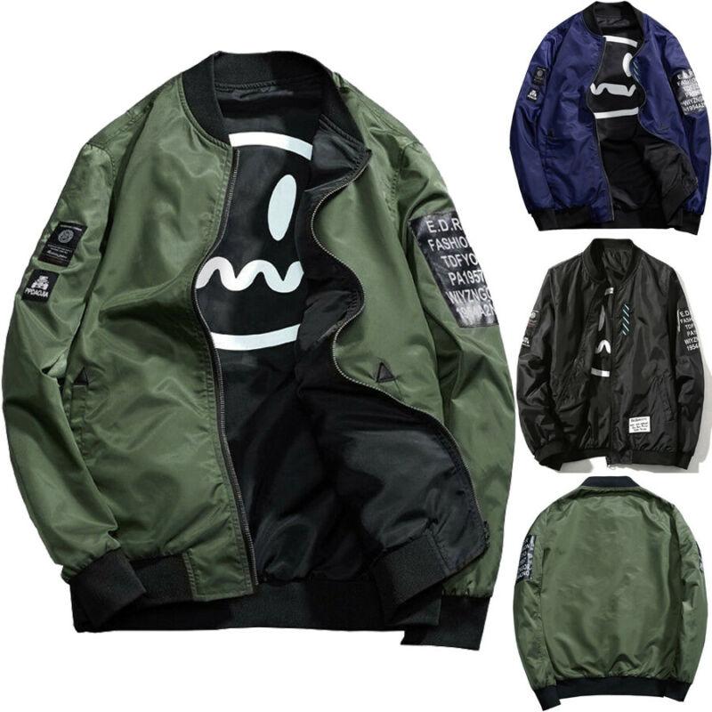 Mens Winter Casual Jacket Autumn Zippers Jumper Pilot Fight Bomber Coat Baseball Sports Outwear Tops Clothes