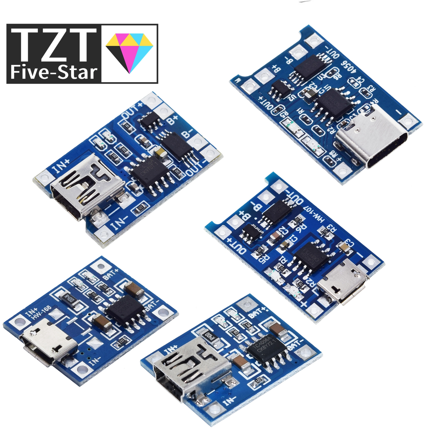 5pcs Micro/Type-c USB 5V 1A 18650 TP4056 Lithium Battery Charger Module Charging Board With Protection Dual Functions 1A Li-ion 1