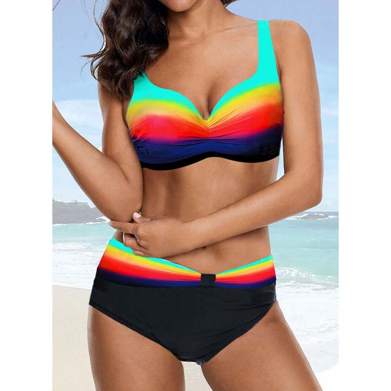 <font><b>Sexy</b></font> Gradient <font><b>bikinis</b></font> <font><b>2019</b></font> new mujer <font><b>High</b></font> <font><b>waist</b></font> <font><b>swimwear</b></font> female <font><b>Push</b></font> up bathing suit Rainbow swimsuit <font><b>women</b></font> Plus size biquiniXXL image