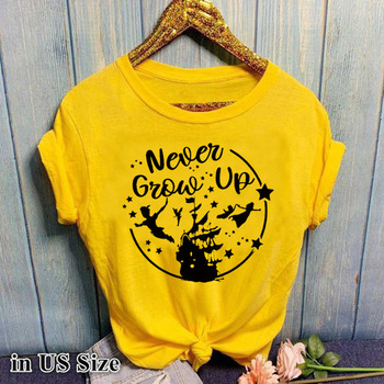 Never Grow Up Letter Print T Shirt Women Short Sleeve O Neck Loose Tshirt 2020 Summer Women Tee Shirt Tops Camisetas Mujer i solemnly swear letter print t shirt women short sleeve o neck loose tshirt 2020 summer women tee shirt tops camisetas mujer