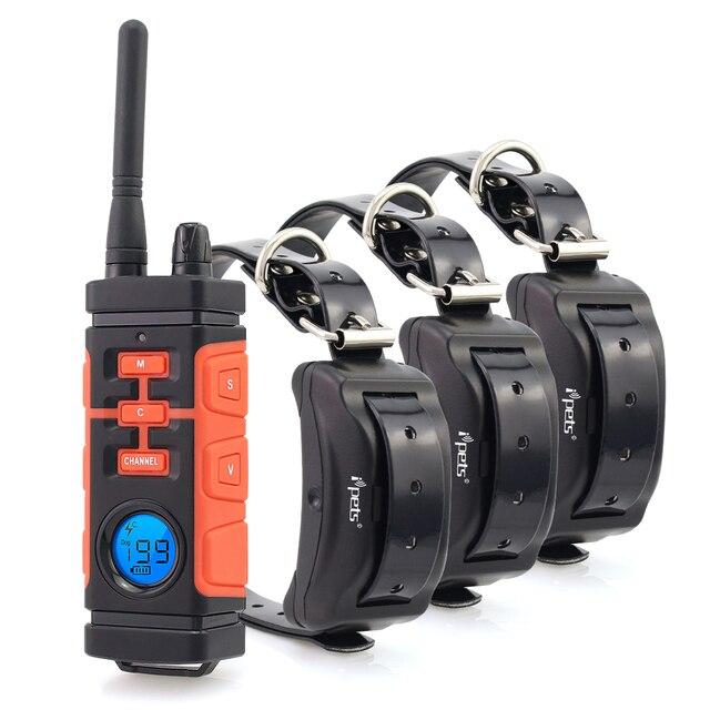 Ipets 616 mais novo 800 m recarregável e à prova drechargeable água vibração elétrica colar de choque para 3 cães