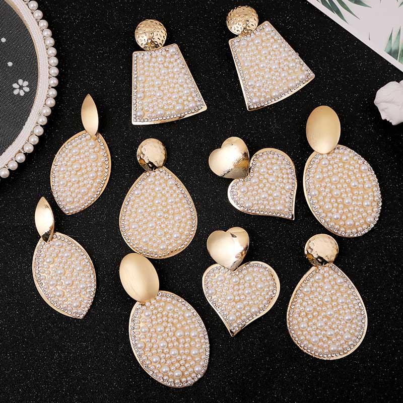 Trendy Gold Metal Square Heart Geometric Drop Earrings For Women Fashion Pearl Big Dangle Earring Ladies Statement Jewelry