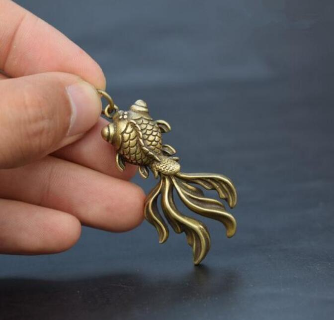 Collection Chinese Archaize Copper Bronze Brass Animal Goldfish Small Pendant