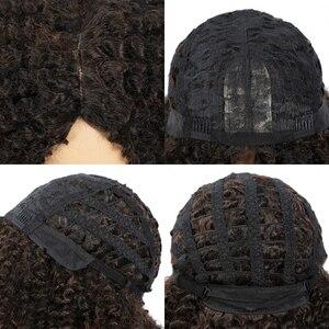 Image 5 - MSIWIGS 갈색 합성 Kinkly 곱슬 가발 여성을위한 4 색 Ombre 금발 짧은 아프리카 가발 아프리카 계 미국인 흑인 중간 부분 머리카락