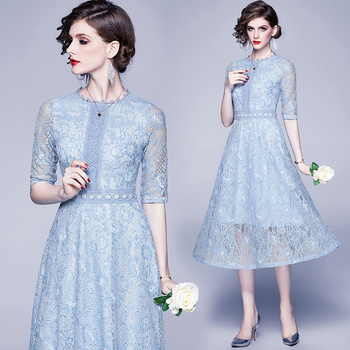 Simgent Women Summer Lace Dress Half Sleeve Hollow Out A Line Casual Elegant Light Blue Dress Vestidos Robe Dentelle SG003253