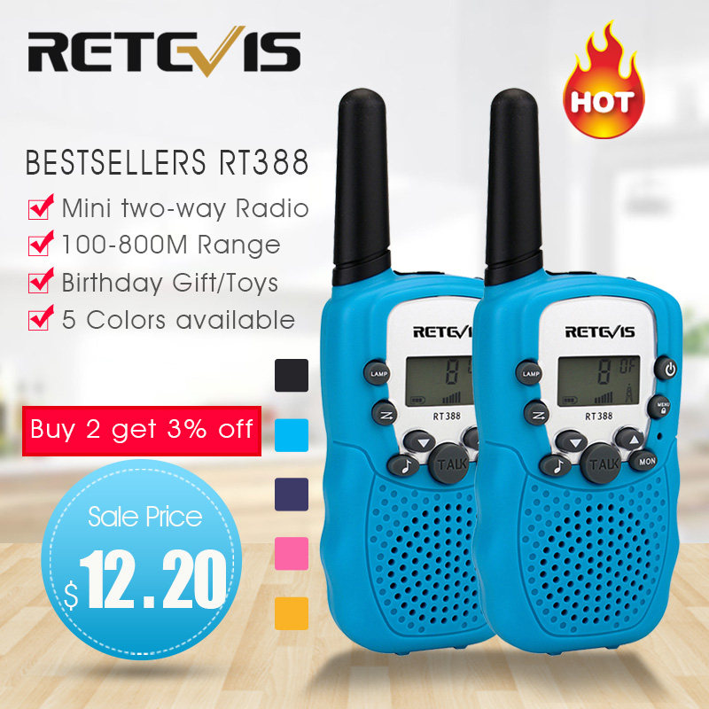 RETEVIS RT388 Walkie Talkie Kids Walkie-talkies 2 pcs Mini Two-Way Radio Station PMR Children Gift/Family Use/Camping 100-800M