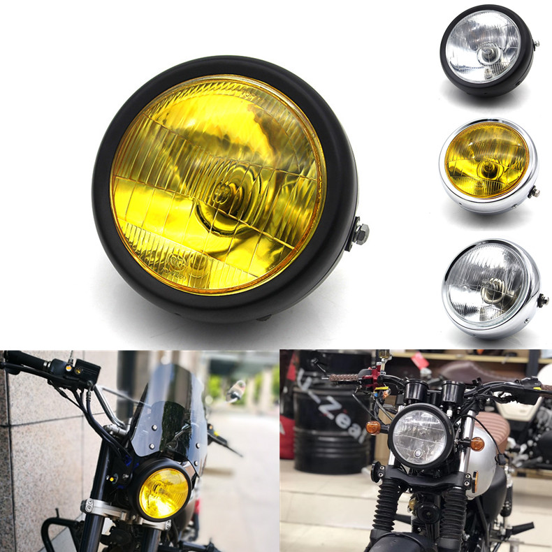 12V Motorcycle Refit Headlight Vintage Round Motorcycle Head Light Scooter Motorbike Motor Front Headlamp