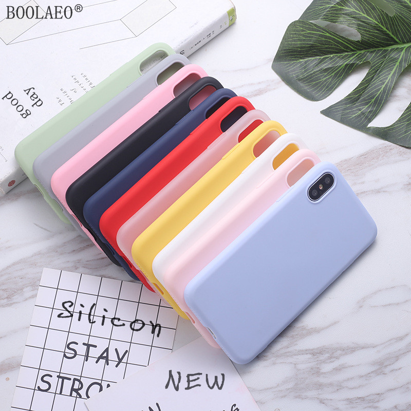 Funda Phone Case For IPhone 7 6 6s 8 Plus 11 X XR XS Max Luxury Silicone Coque Soft TPU Case 8plus XSMax Candy Back Funda Cover