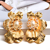 Flower-Shaped Metal Pearl Drop Earrings  1