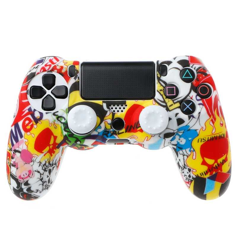 Anti-Slip Multicolor Silikon Abdeckung Haut Fall + 2 Thumbsticks Griffe Für Sony PS4 Pro Slim-Controller
