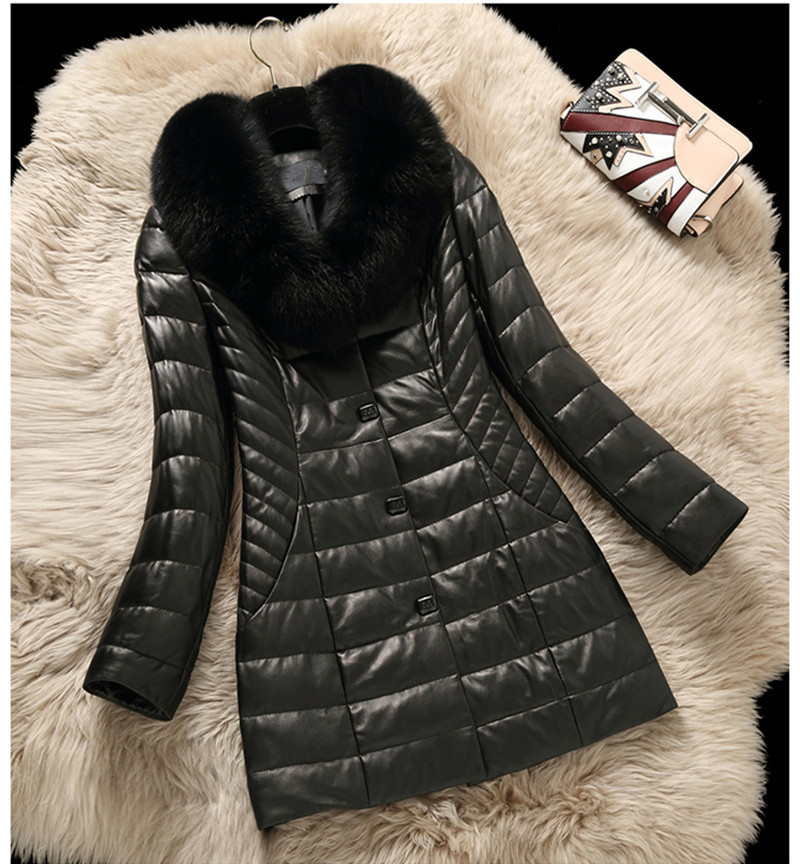 Fox Warm Winter Fur Collar Genuine Leather Jackets Women's Sheepskin Coat Feamle Slim Down Jacket Jaqueta Couro WXF274