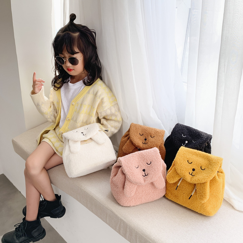 Children's Backpack Bag Autumn And Winter Cute Cute Plush New Korean Fashion Cartoon Girls Backpack Western Style Child Backpack