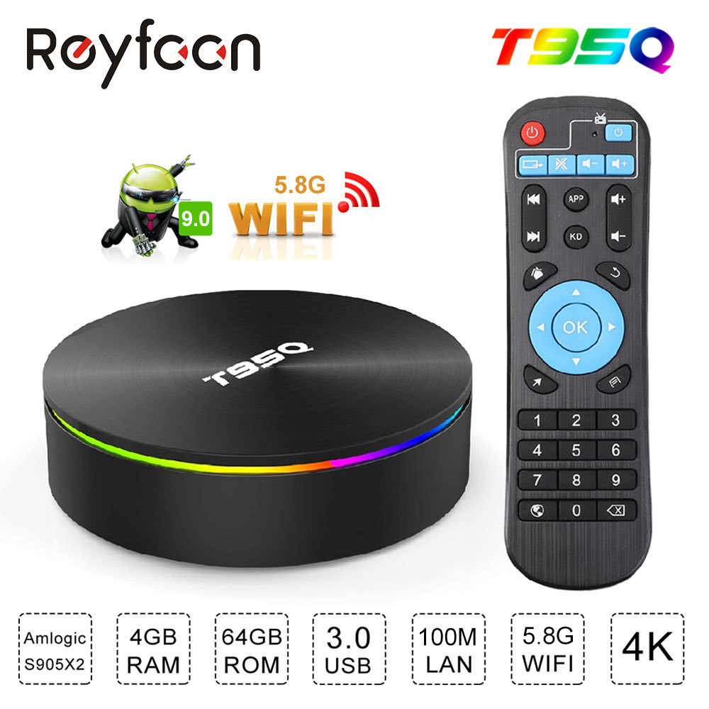 T95Q 4 Gb 32 Gb 64 Gb Android 9.0 Tv Box Amlogic S905X 2.4/5.8 Ghz Dual Wifi BT4.1 h.265 4K USB3.0 60pfs Media Player Smart Tv Box