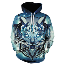 Totem wolf head print Hoodies Men autumn Winter Tops Hoodie Men's  Casual fashion trend wolf head print Hip hop Hoodie Men's худи print bar white wolf